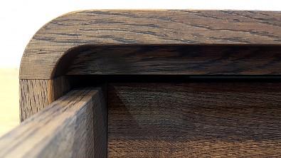 Dřevěný noční stolek z masivu DEIRA, Materiál: Dub, Odstín: Olej Grau Blau #05