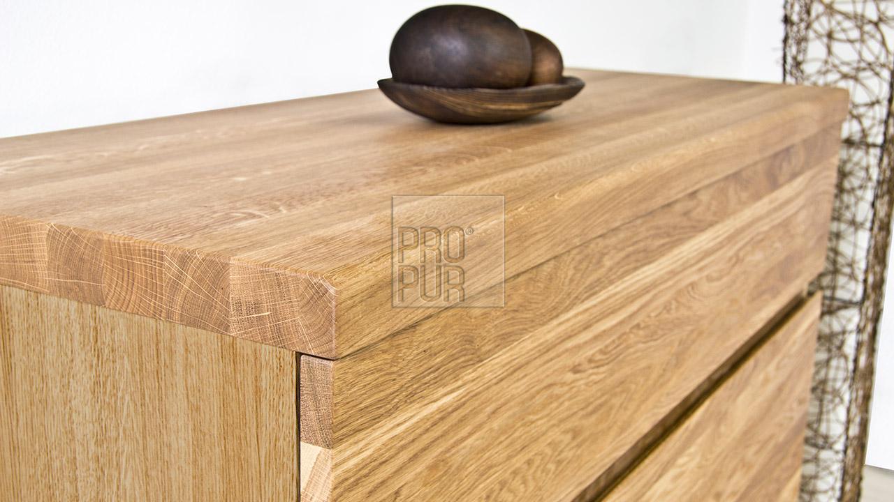 Dřevěná komoda z masivu PALERMO, Materiál: Masiv Dub, Odstín: Olej BIOFA Transparent #03