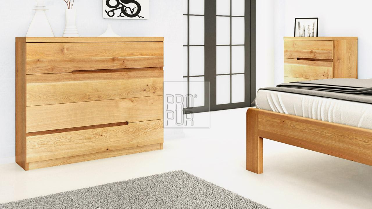 Dřevěná komoda z masivu PALERMO, Materiál: Masiv Dub, Odstín: Olej BIOFA Transparent #06
