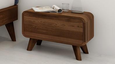 Noční stolek z masivu DEIRA, Materiál: Masiv Dub, Odstín: Olej Nuss Braun#03