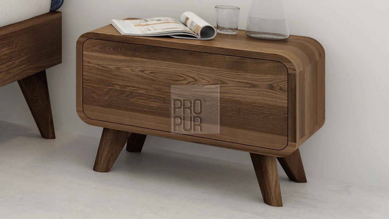Noční stolek z masivu DEIRA, Materiál: Masiv Dub, Odstín: Olej Grau#04