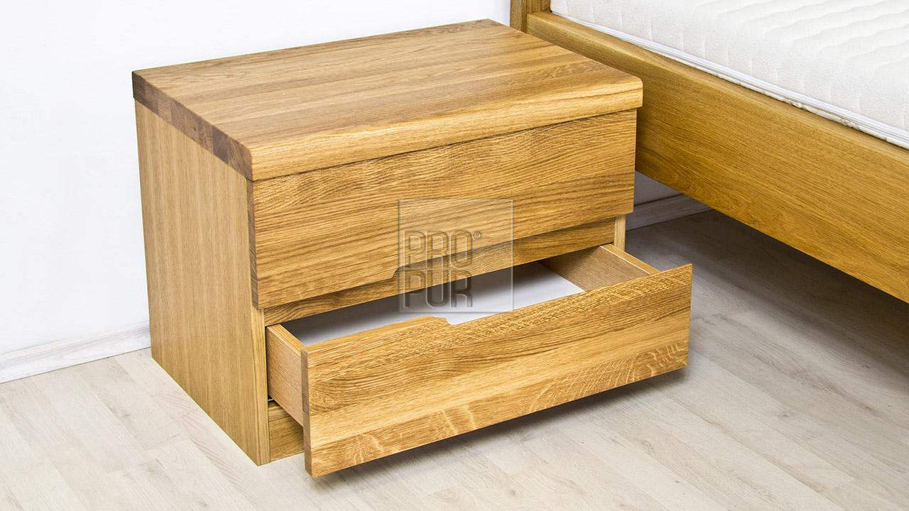 Dřevěný noční stolek z masivu PALERMO, Materiál: Masiv Dub, Odstín: Olej BIOFA Transparent #03