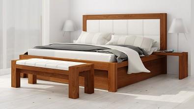 Designová postel z masivu MODENA varianta s úložným prostorem, Materiál: Masiv Dub, Odstín Olej Orange Braun #12
