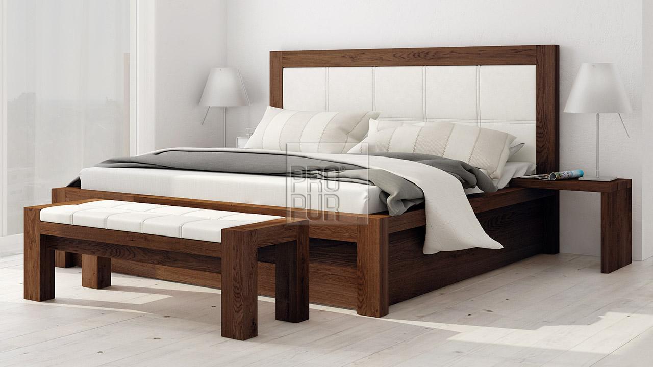 Designová postel z masivu MODENA varianta s úložným prostorem, Materiál: Masiv Dub, Odstín Olej Wenge #13