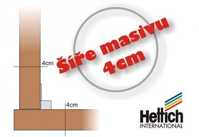 Použitá šíře masivu 4 cm