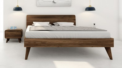Designová postel z masivu CORTINA, Materiál: Masiv Dub, Odstín: Olej Garu #04