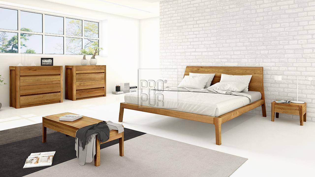 Designová postel z masivu GIULIA dvoulůžko Materiál: Masiv Dub, Odstín: Olej Transparent #07