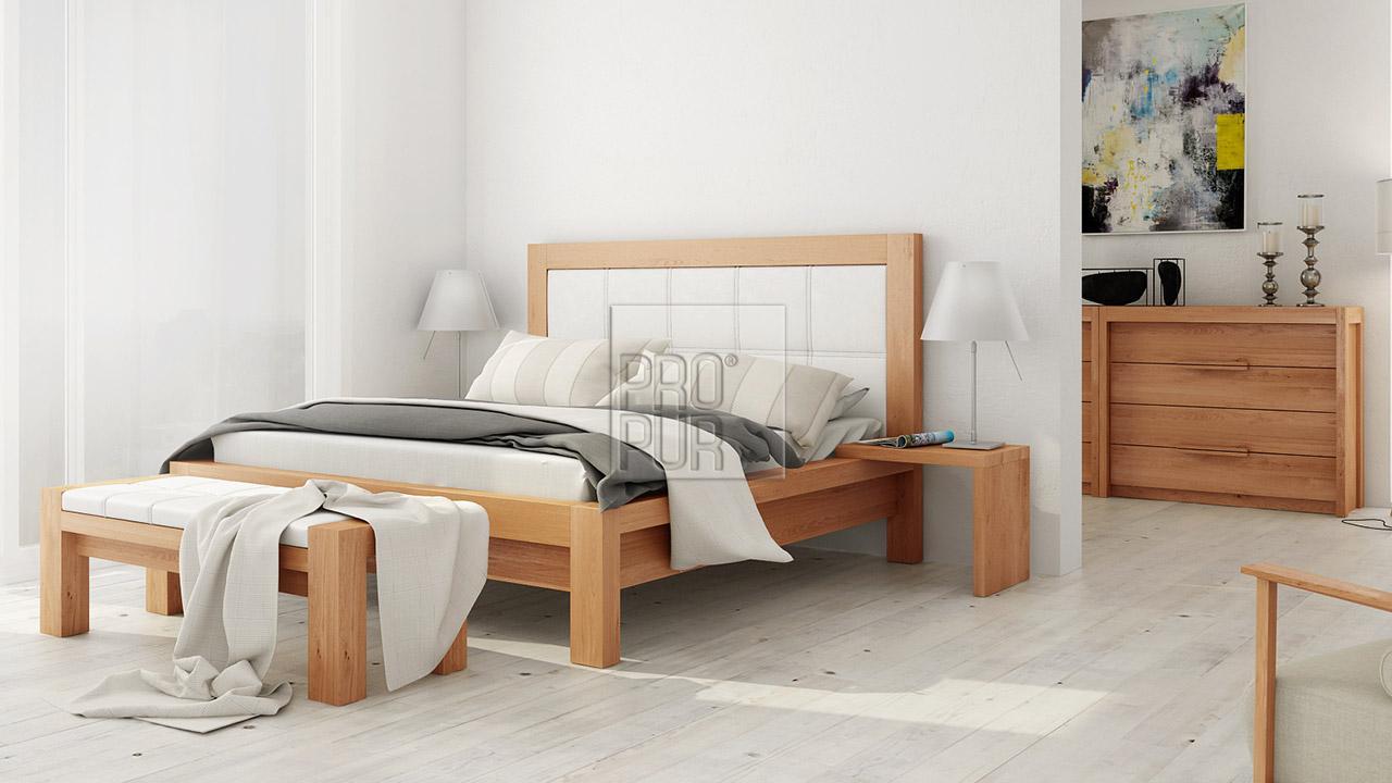 Designová postel z masivu MODENA, Materiál: Masiv Buk, Odstín Olej BIOFA Transparent #07