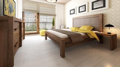 Designová postel z masivu MODENA, Materiál: Masiv Dub, Odstín Olej Wenge #08