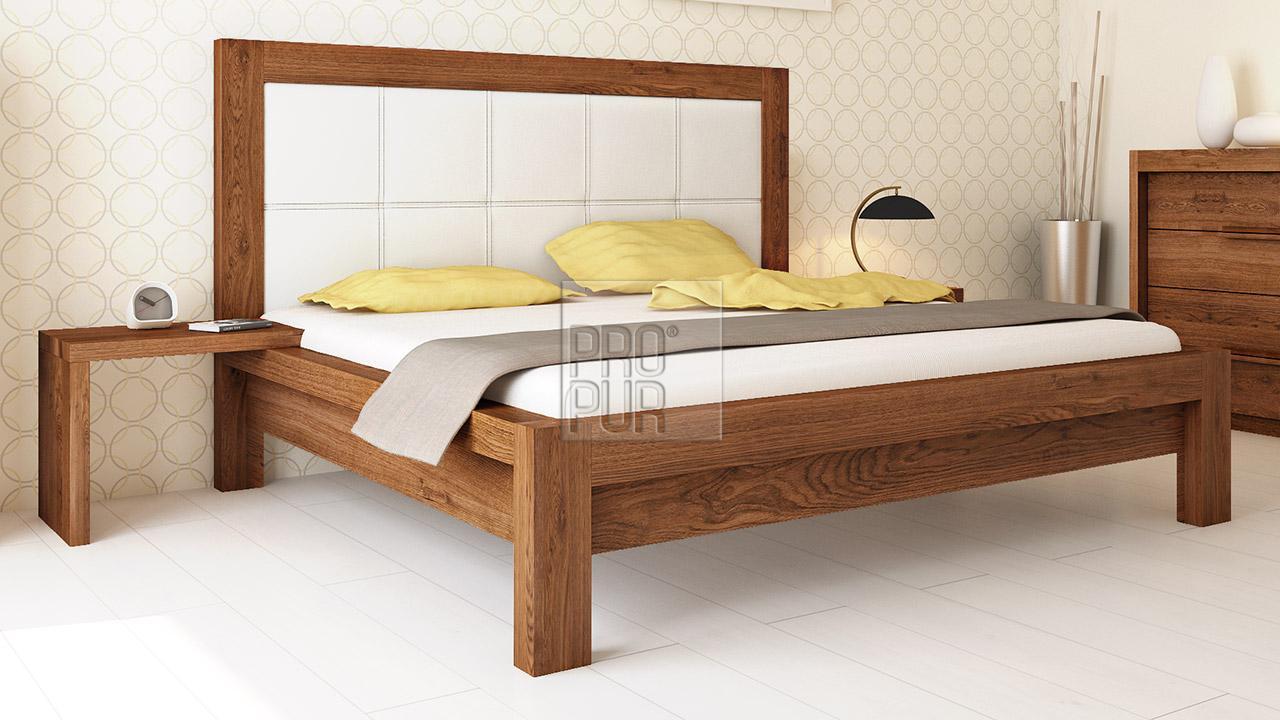 Designová postel z masivu MODENA, Materiál: Masiv Dub, Odstín Olej Nuss Braun #03